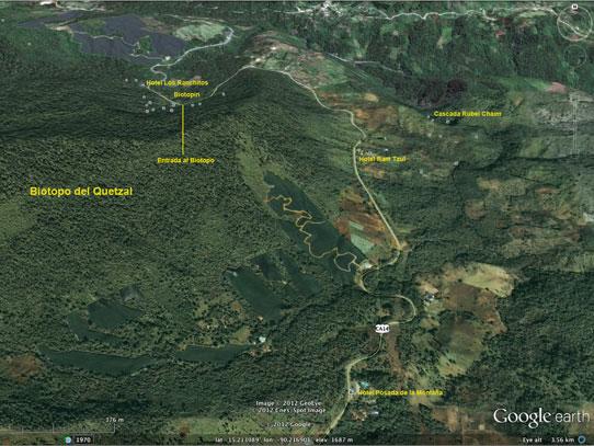 Mapa del Corredor Biológico del Bosque Nuboso. Foto: biotopodelquetzal.tumblr.com